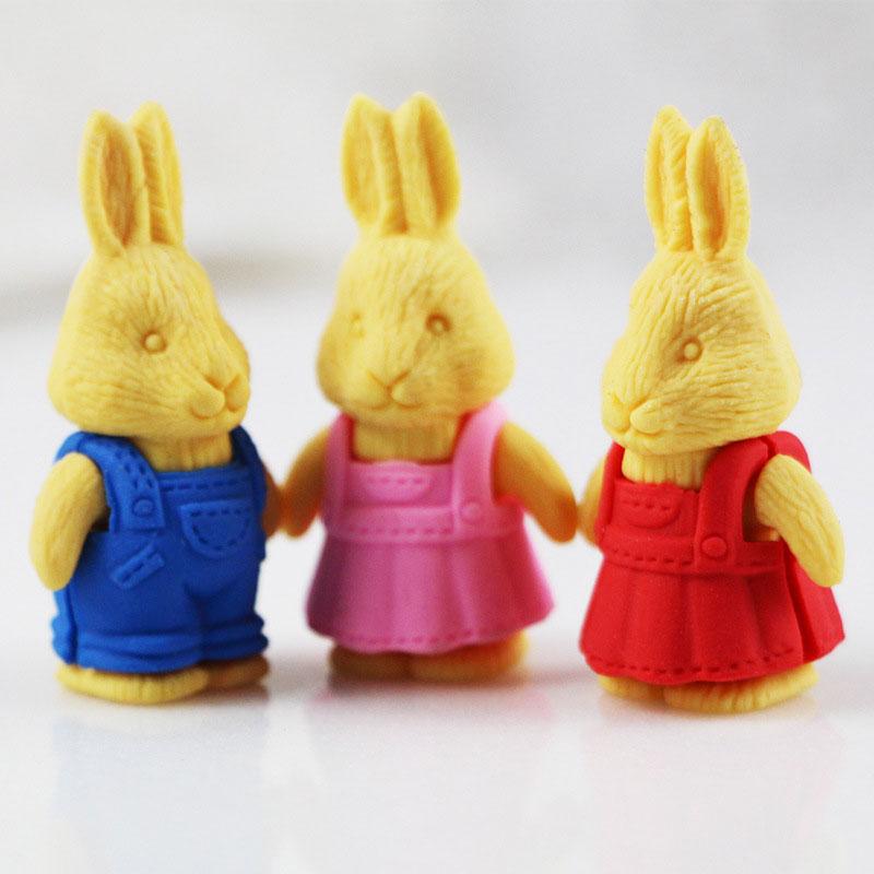 1X Cartoon Assemble Eraser Mini Bunny Modelling Eraser Children Stationery Gift Prizes Kawaii School Office Supplies Papelaria