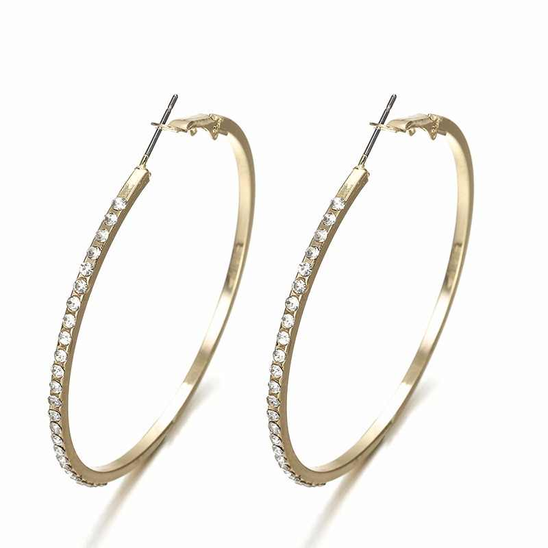 Personality Super Crystal  Big Circles Hoop Earrings For Women Fashion Gold Silver Color Jewelry Trendy Big Round Circle Earring
