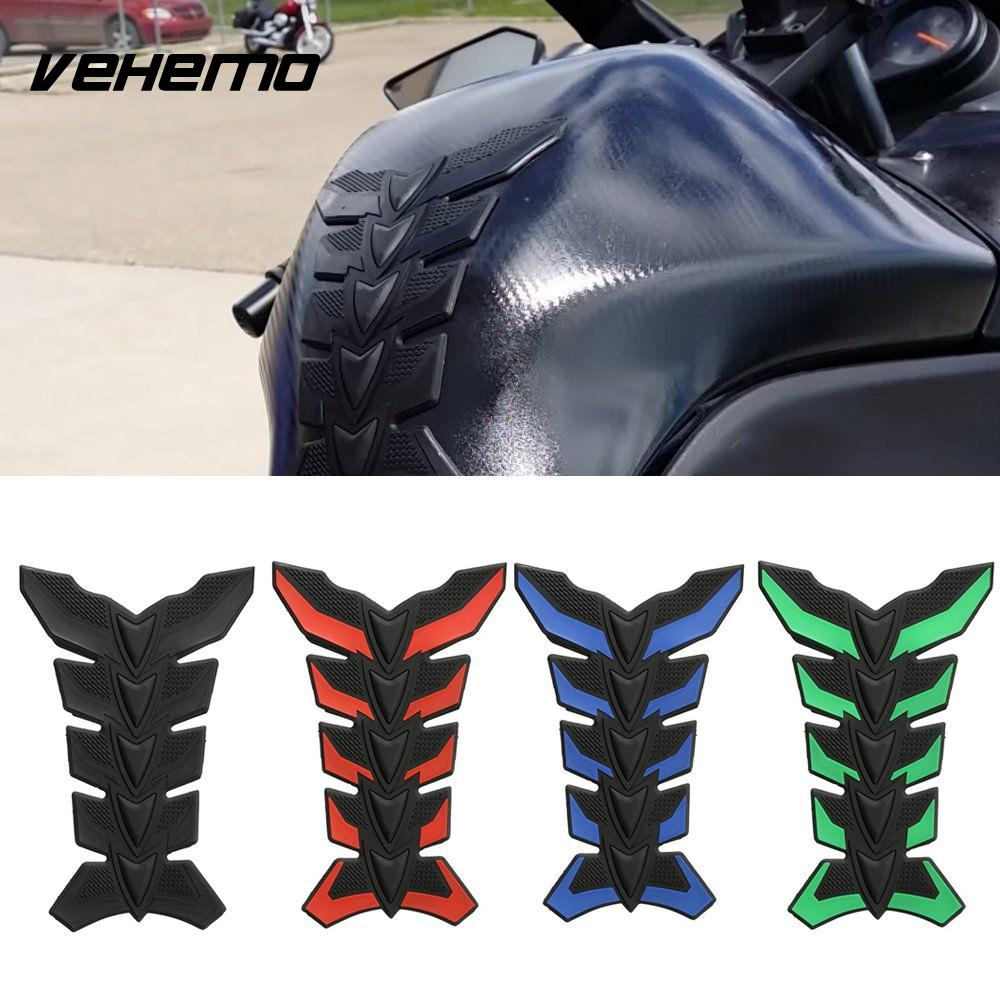 Vehemo 1PC Carbon Fiber 3D Motorcycle Tank Pad Anti-scratch Tankpad Oil Gas Protector Sticker For Honda Kawasaki Yamaha Suzuki