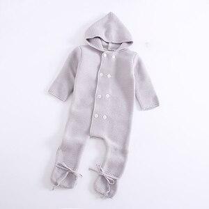 Image 3 - Infant Baby Strampler Winter Kleidung Neugeborenen Baby Junge Mädchen Strick Pullover Overall waschbär Pelz Mit Kapuze Kid Kleinkind Oberbekleidung