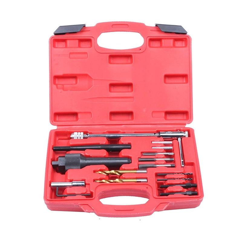 16pcs Damaged Glow Plug Removal Remover Thread Repair Car Garage Tool Kit Set 8mm 10mm