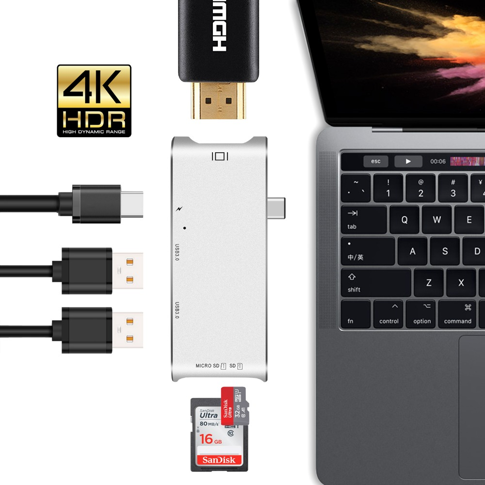 GOOJODOQ USB C Hub Type C Hub HDMI Adapter 4K Dock Dongle SD slot Micro SD Card Reader USB-C PD For MacBook Pro thunderbolt 3