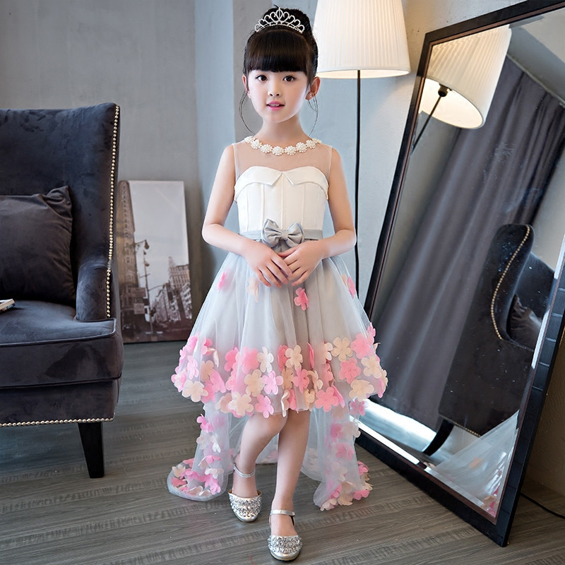 2017 New Korean Sweet Girls Children Princess Dress With Long Mesh Tail  Kids Flowers Wedding Birthday Train Ball Gown Dresses 8ae627f82f2a