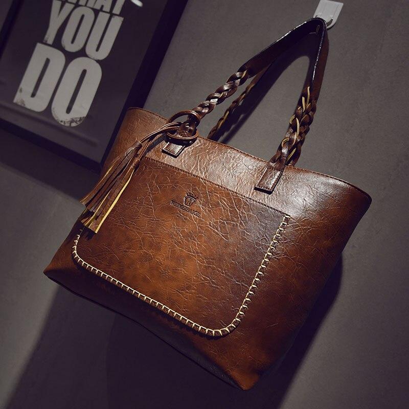 Vintage top-handle bag PU Leather Handbags for Women Luxury Designer CrossBody bag sac main High Quality Tassel Shopping Tote