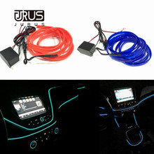 JURUS 2Meter EL Cold Light Line Car Styling Ambient Interior Decoration Wire Sew Flexible Led Neon Strip 12V Inverter