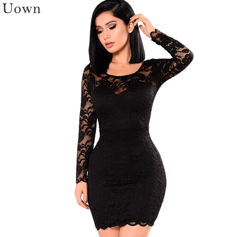 Autumn Black <font><b>Sexy</b></font> Long Sleeve Lace Dress Women Hollow Out O-Neck Club Party <font><b>Bodycon</b></font> Mini Dress <font><b>Vestido</b></font> <font><b>De</b></font> <font><b>Renda</b></font> Ropa Mujer image