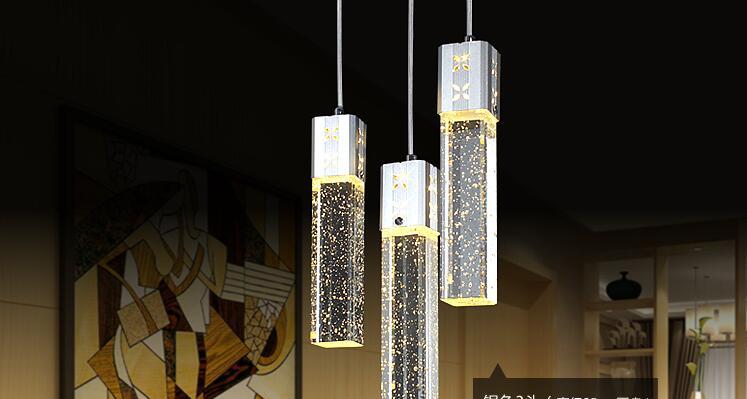 Neue moderne 3 kopf led leuchten blase kristall spalte anhänger