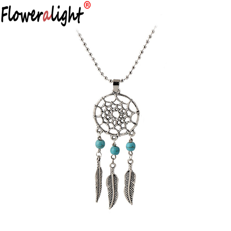 Floweralight Fashion Catcher Dream Feather Pendant Earrings Sets Jewelry Vintage Long Necklaces Pendants For Women N2097