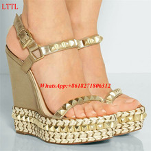 Hotsale Cheap Womens Shoes Summer Rivet Studded Gladiator Sandalias Fashion Lady Open Toe Platform Wedge Sandals Gold Black Pink