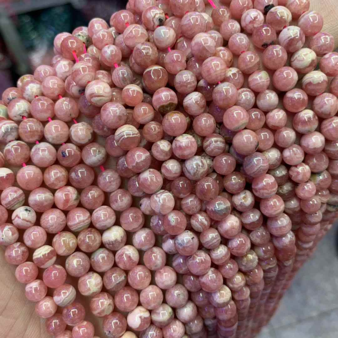 AAA Grade Round Genuine Pink Argentina Rhodochrosite Precious Stone Beads Natural Stone DIY Loose Beads For Jewelry Making 15""