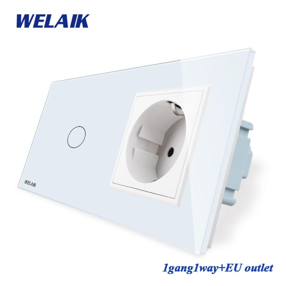 WELAIK 2Frame-Crystal Glass-Panel Wall-Switch EU Touch-Switch-Screen EU Wall-Socket 1gang-1way AC110~250V A29118ECW/B