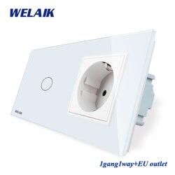 Welaik 2frame-crystal glass-painel de parede-switch ue touch-switch-tela ue parede-soquete 1gang-1way ac110 ac250 v a29118ecw/b