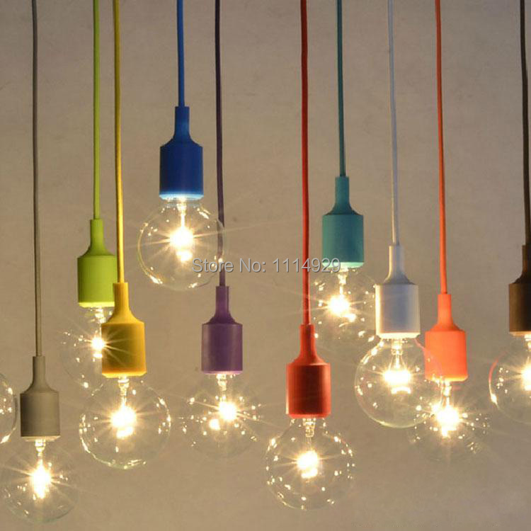 Modern Colorful Silicone Pendant Lights for Bar Restaurant E27 Pendant Lamp Hloder 1 Meter Cable 13 Colors Vintage Edison Bulbs