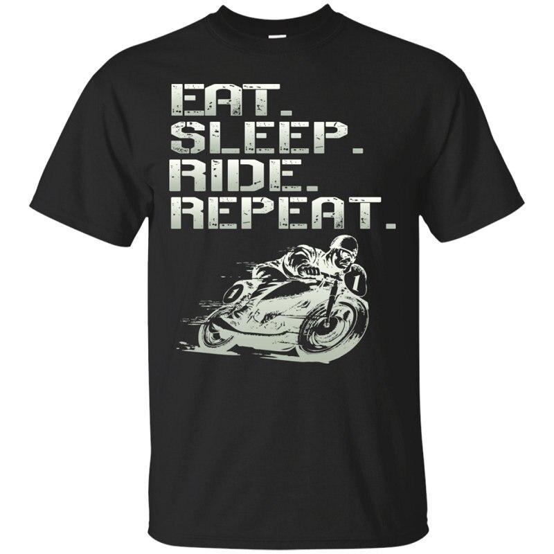 2018 Fashion Black T Shirt Crew Neck Men Eat.Sleep.Ride.Repeat. Broadcloth Short T Shirt
