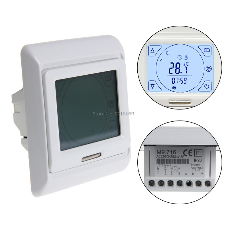 For LCD Programmable Floor Heating Thermostat Controller Temperature Touch Screen Promotion 6 1 programmable eu floor heating thermostat room temperature controll with lcd touch