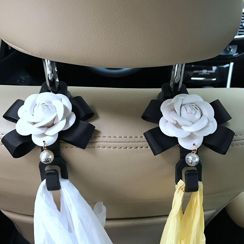 2stk / lot Camellia Blommor Bilsits Bak Krokar Hangers Organizer - Bil interiör tillbehör - Foto 4