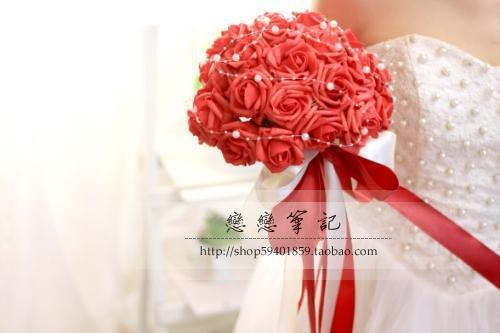 2017 Горячая Продажа! букет Невесты Красный Невесты Цветы Свадебный Букет Искусственный Роуз Свадебные Аксессуары