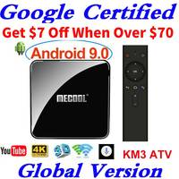 Сертифицированный Google Android tv 9,0 MECOOL KM3 tv Box Android 9,0 4 Гб ram 64 Гб 128 ГБ Amlogic S905X2 4K Voice 5G Wifi KM9 PRO A tv