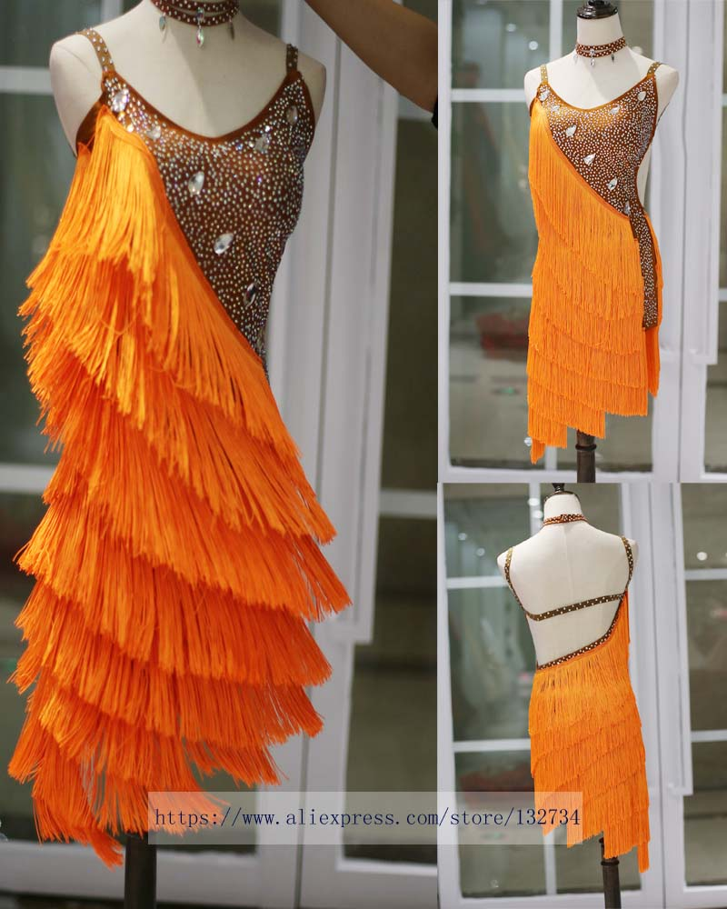 Costume Tango Tassel Diamond Dance Qlan Robe de Danse Latine aux Filles