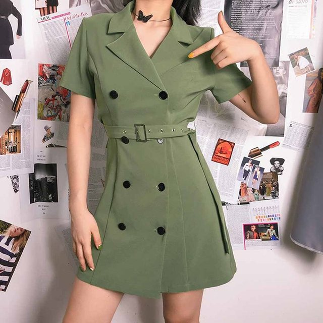 Fashion Green Sexy Mini Office Dress Women Korean Elegant Belt Slim Plain Vintage Simple Work Ladies Street Summer Short Dresses