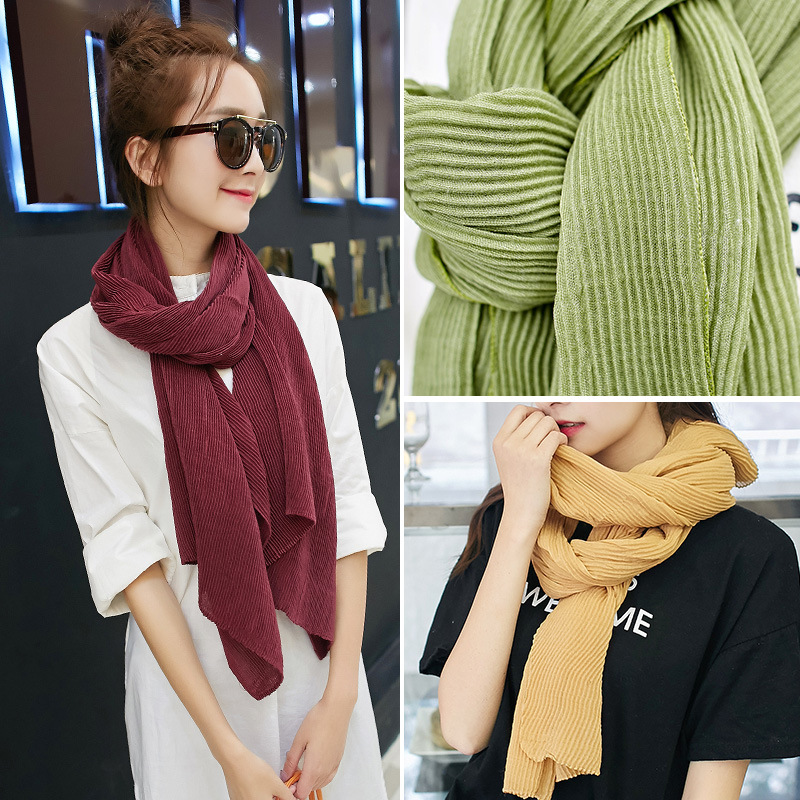 2018 Sale Hijab Hot Style Manufacturers Wholesale Yiwu Water Waves Gradually Fold Monochromatic   Scarf     Wrap   Around The Shoulder