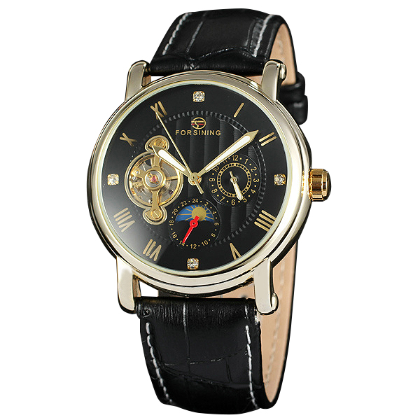 ФОТО Top Brand FORSINING Men's Automatic Watches Imported Japan Movement Male 24-hour Mechanical Wristwatches Leather Strap +GIFT BOX