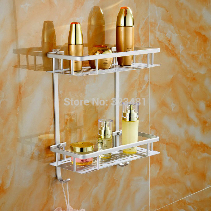 aluminum dual tier bathroom shelf rack with hook strong sheet design wall shelf for kitchen storage
