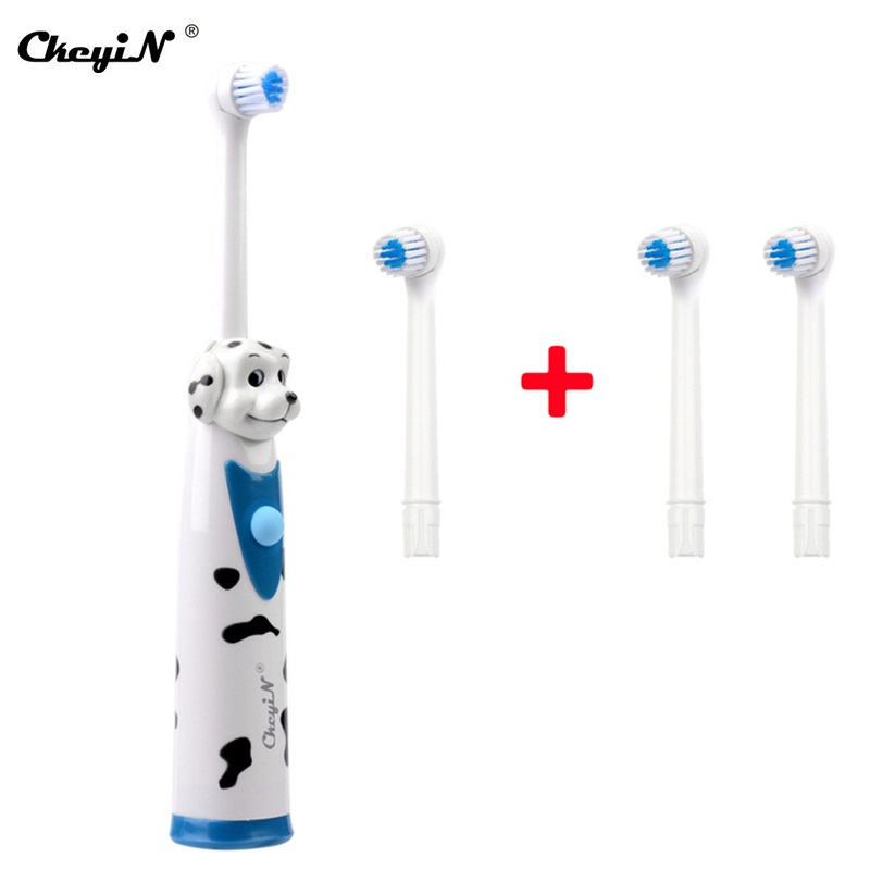 Electric Toothbrush For Children Gum Care Rotation Vitality Cartoon Oral Care Soft Silicone Tooth Brush For Kids Battery Powered