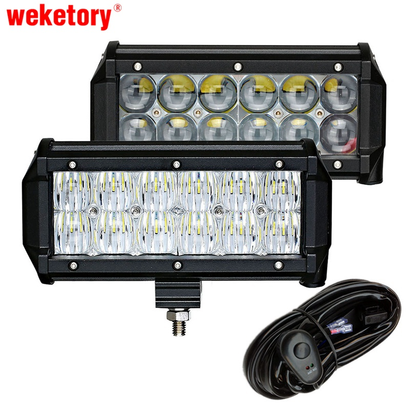weketory 2PCS 7 inch 60W 4D 5D LED Work Light Bar for Tractor Boat OffRoad 4WD 4x4 Truck SUV ATV Spot Flood with Switch Wiring