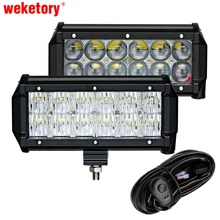 weketory 2PCS 7 inch 60W 4D 5D LED Work Light Bar for Tractor Boat OffRoad 4WD 4×4 Truck SUV ATV Spot Flood with Switch Wiring