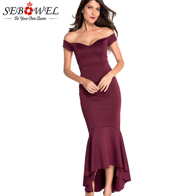 SEBOWEL Sexy Red Off Shoulder Mermaid Party Dress Evening Gown Women Jersey  Long Maxi Bodycon Dress 5c48ab5fe206