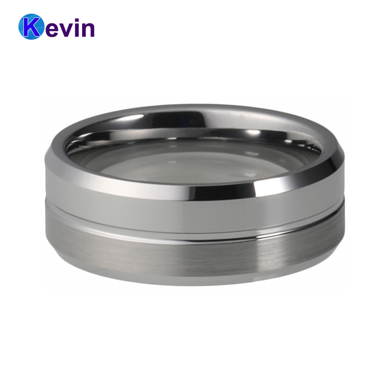 Silver Wedding Bands Tungsten Carbide Wedding Rings With Groove Bevel Edges Finish