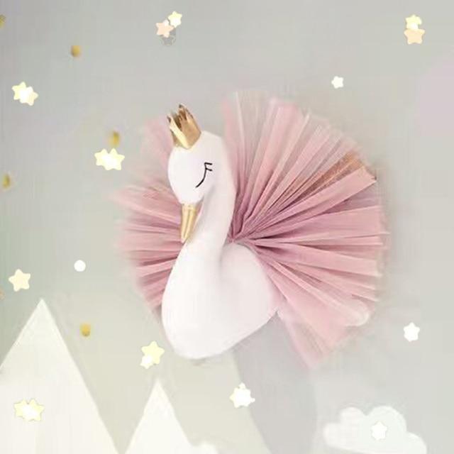 Cute 3d Golden Crown Swan Wall Art Hanging Girl Swan Doll Stuffed Toy Animal Head Wall