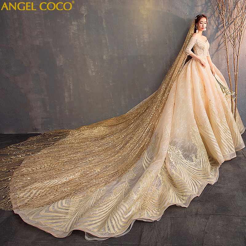 Gold Gowns Wedding: Luxury High End Custom Made Lace Gold Wedding Dress