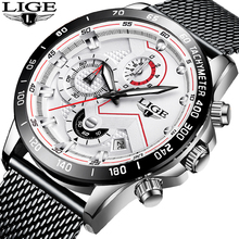 2019 LIGE Mens Watches Top Brand Luxury Casual Mesh Belt Stainless Steel Waterproof Quartz Watch For Men Clock Relogio Masculino