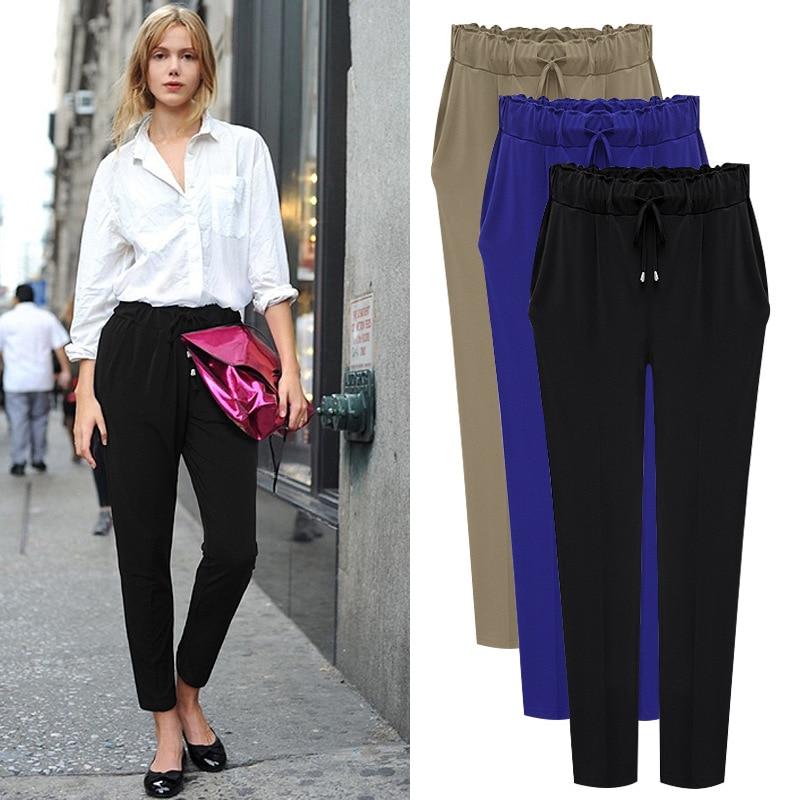 pregnant women Summer style M... XXXXL Black Blue Plus Size Elastic Waist Trousers Maternity Women clotheing Female Harem Pants