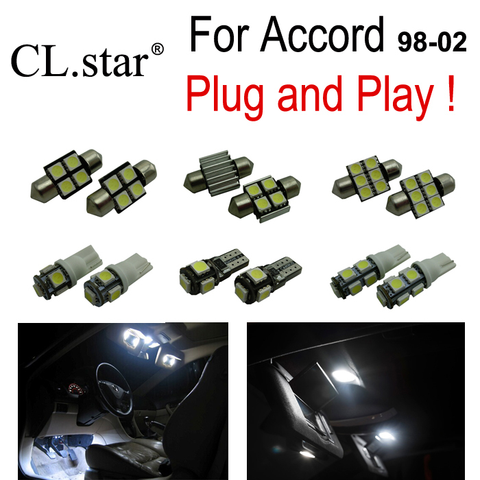 8pc x free shipping Xenon white LED interior dome light kit package For Honda For Accord (1998-2002) free shipping 60 17x a4 s4 b5 1998 2001 white led lights interior package kit canbus