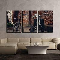 3 Piece Canvas Wall Art Retro Bicycle and Moto Scooter Over The Wall from Red Bricks Modern Home Decor Stretched and No Framed