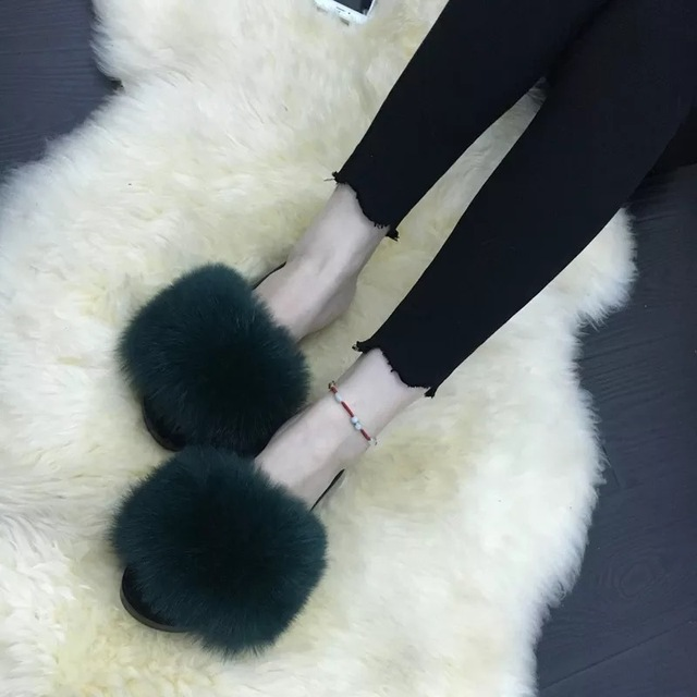 2019 Women's Furry Slippers Ladies Cute Plush Fox Hair Fluffy Slippers Women's Fur Slippers Winter Warm Slippers for Women Hot