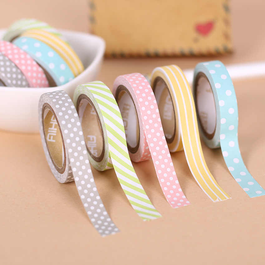 5 Buah/Set Warna Kertas Tape Buatan Tangan DIY Dekoratif Washi Tape Colored Rainbow Tape