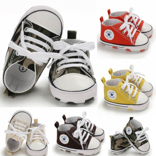 Pudcoco Toddler Sneakers Boys Girls Soft Sole Crib Shoes Canvas Crib Shoes Anti-slip Sneakers Prewalkers 0-18 Months