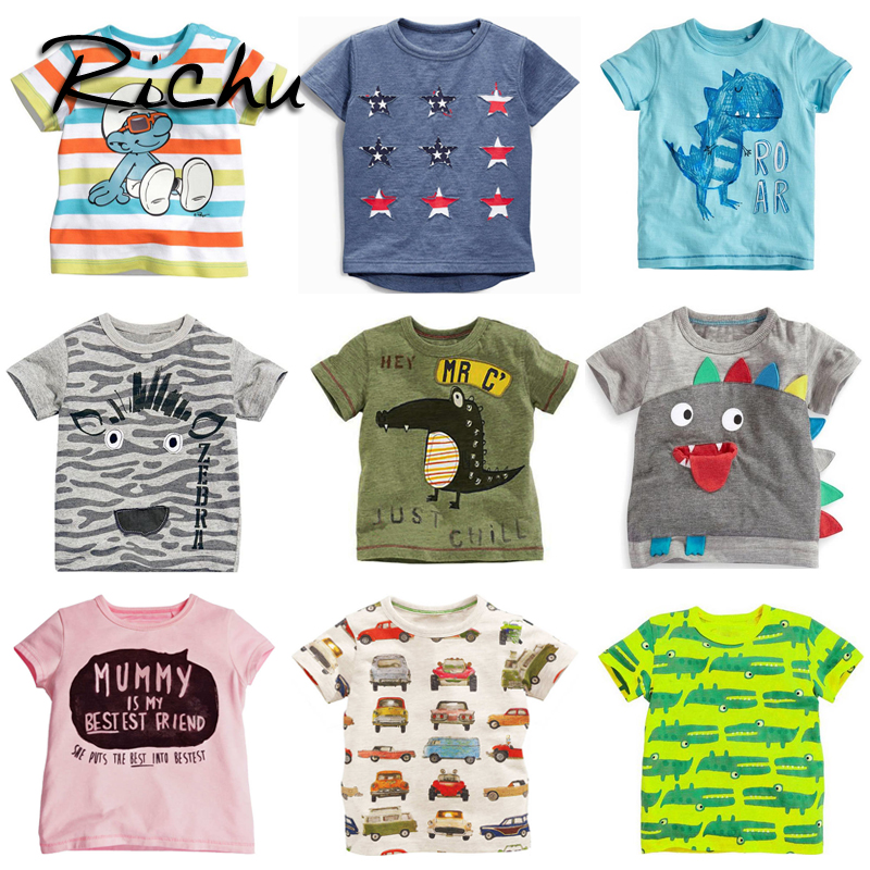 Richu dinosaur tshirts for boys short summer t-shirt with sequins for girls avengers t shirts for boys t shirt with animal