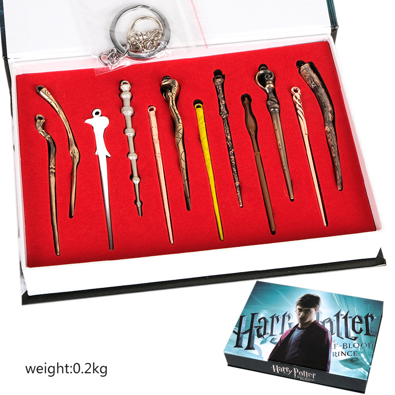 12pcs/Sets 8cm Small Size Mini Harry Potter Magic Wand Alloy Collection Suit Anime Figure Toys Gift