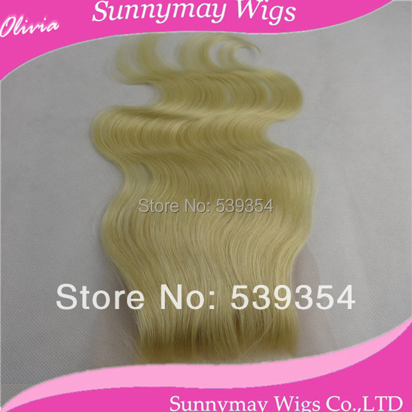 ФОТО Sunnymay Hair Lace Closure 120% Density Bleached Knots Body Wave #613 Blonde Peruvian Lace Closure In Stock 4