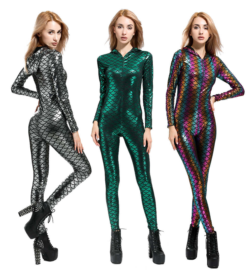 0b9dc4024474 New Fish Dragon Scales Women Faux Leather Jumpsuit Holographic Metallic  Catsuit bodysuit Sexy Jumpsuit Mermaid Suits