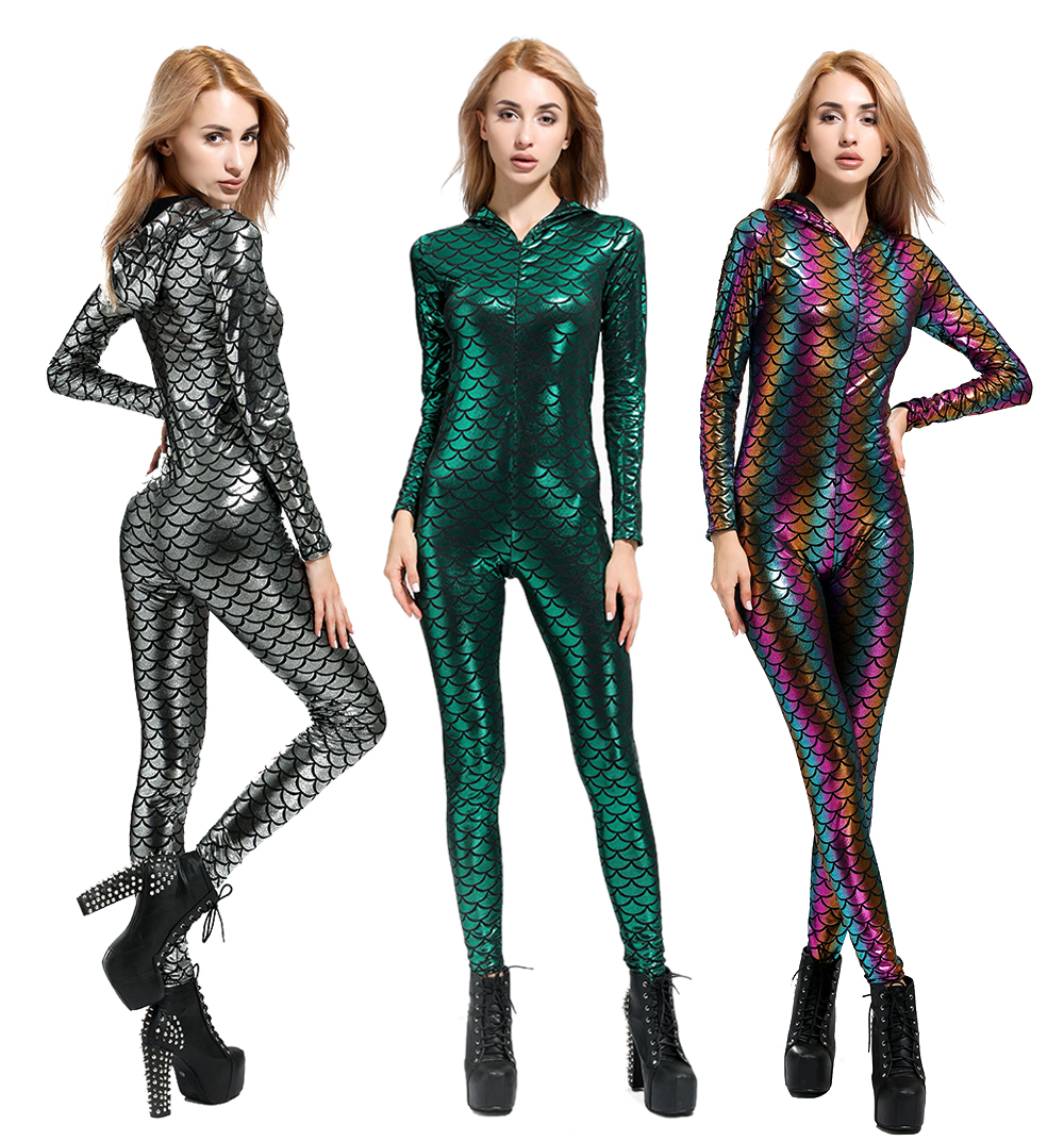 New Fish Dragon Scales Women Faux Leather   Jumpsuit   Holographic Metallic Catsuit bodysuit Sexy   Jumpsuit   Mermaid Suits 2018