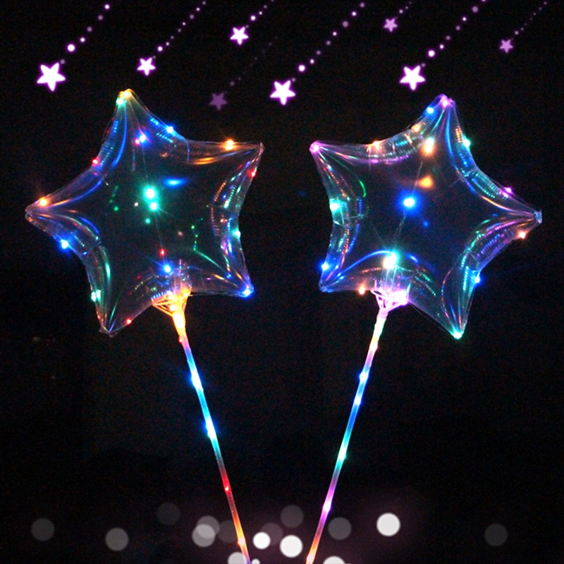 10pcs Luminous Led light with 18 inch Transparent Round Bubble Decoration Party Wedding Balloons Lighting in Dark 3M String