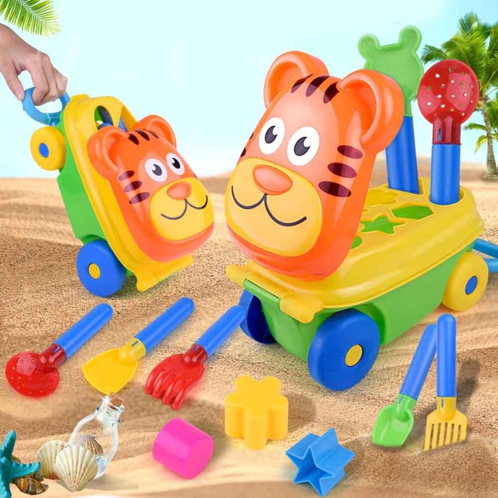 15 Pcs Kids Cart Beach Sand Toys Bucket Water Children Shovel Kit Play Toys Playset For Kids Castle Spade Shovel Rake Tools