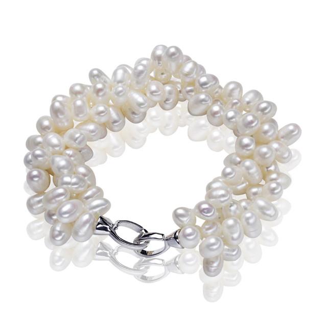 Genuine pearl contas melhor natural de água doce pulseira pérola 100% fecho de prata esterlina 925 pulseira da moda para as mulheres frete grátis