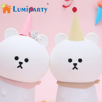 LumiParty Dreamlike Bear Silicone Night Lamp Sensitive Tap Control LED Nursery Light Baby Mood Lamp Bedside